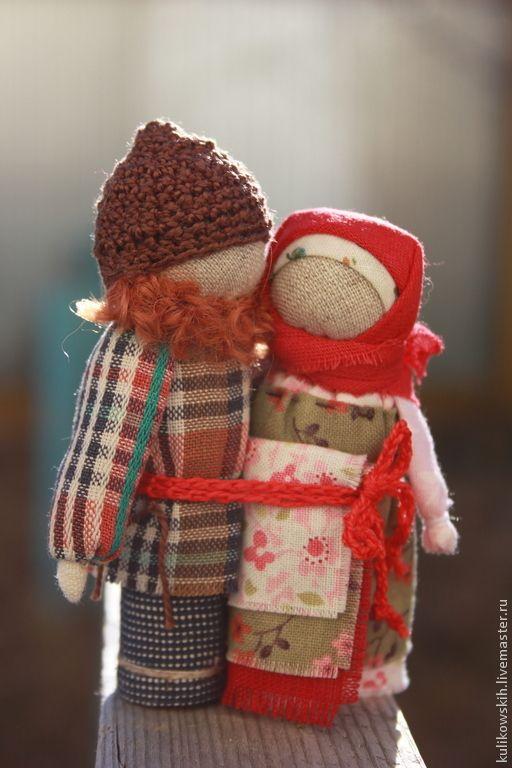 """Купить Куколки Неразлучники """"Любовь земная"""" - бордовый, неразлучники, народная кукла, семья, традиция"""