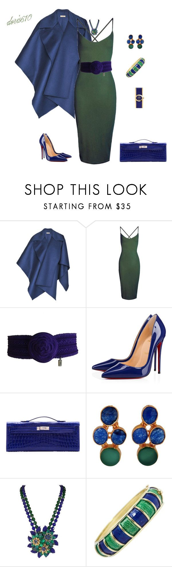 """""""Untitled #1832"""" by doris610 ❤ liked on Polyvore featuring Burberry, Boohoo, Yves Saint Laurent, Christian Louboutin, Hermès, Carousel Jewels, Cellino and Caravelle by Bulova"""
