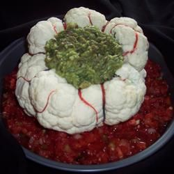 Halloween brain dip - cauliflower hollowed out - guacamole in the middle