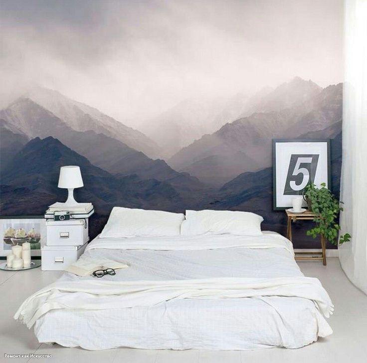 Нежная отделка стены в спальне