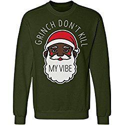 Grinch My Vibe Black Santa Sweater: Unisex Anvil Crewneck Sweatshirt
