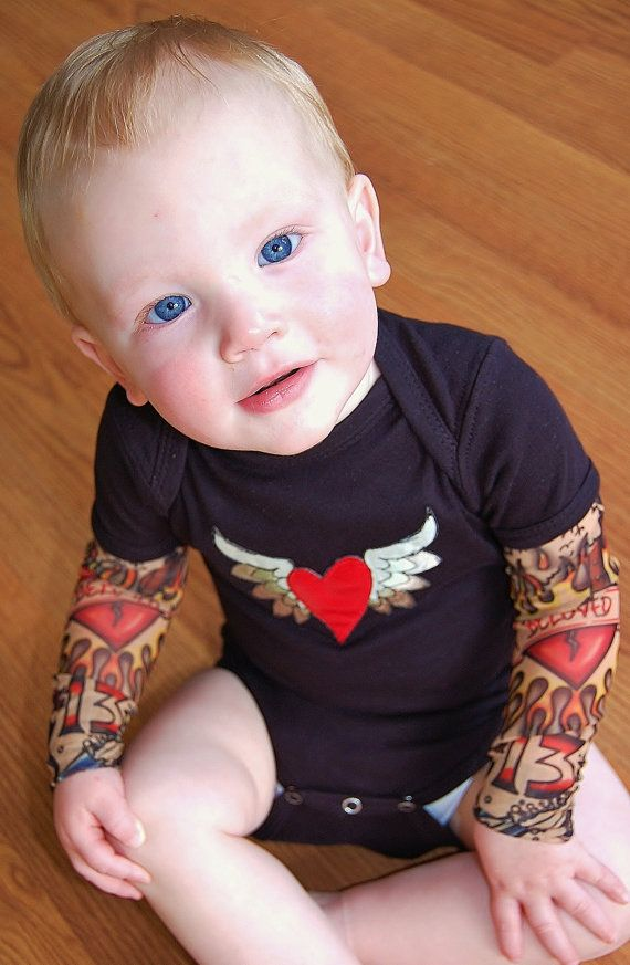 tattoo sleeves shirt for your baby, too cute! #etsy #fashion #kids