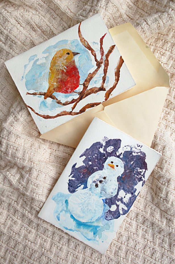 The Most Adorable DIY Potato Stamp Holiday Cards You've Ever Seen --> http://www.hgtvgardens.com/crafts/handmade-potato-stamp-christmas-cards?soc=pinterest
