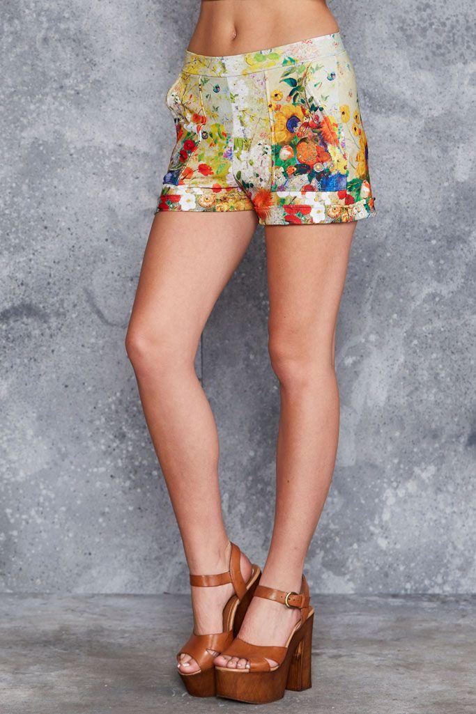 Redon Yellow Cuffed Shorts ($70AUD) by BlackMilk Clothing