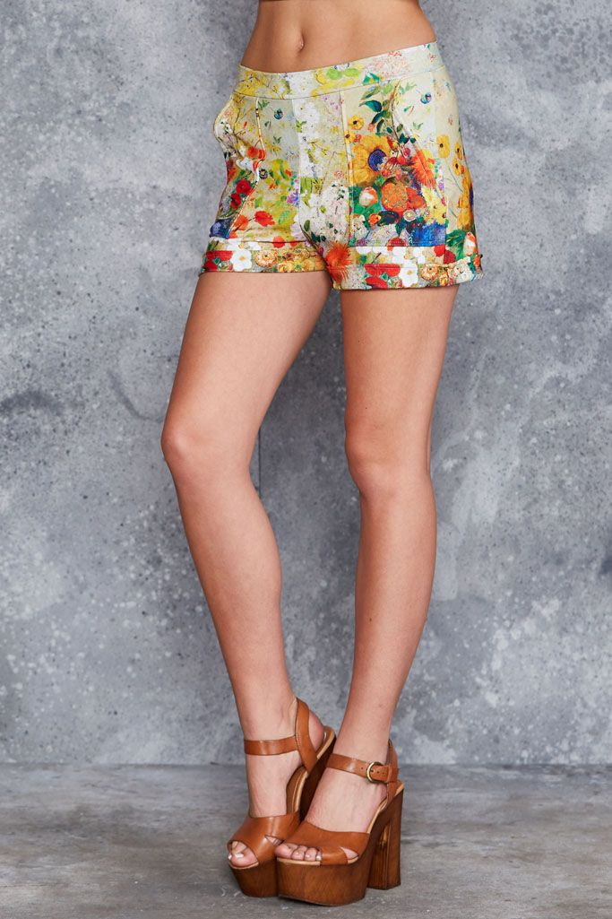 Redon Yellow Cuffed Shorts ($70AUD) by BlackMilk Clothing
