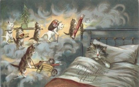 Maurice Boulanger - Cats 'Loving Christmas Wishes'