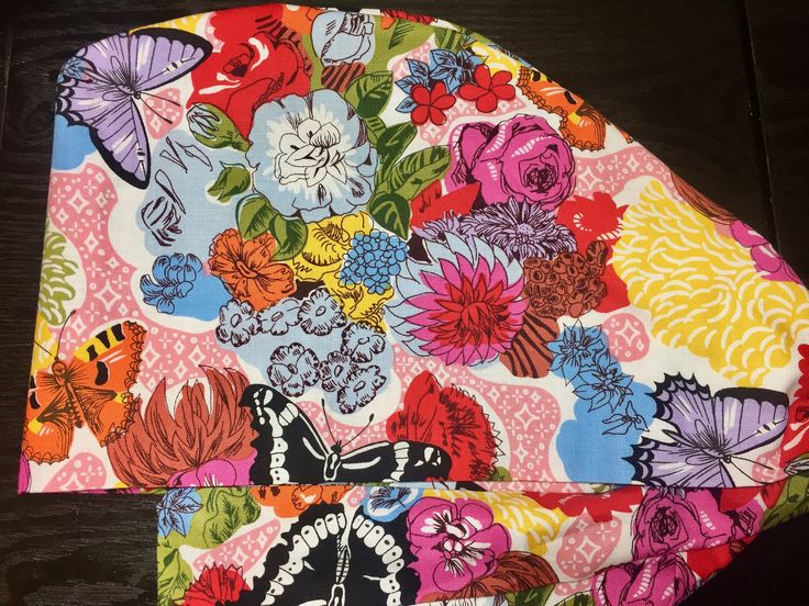 Modern Floral Blooms on Pink, Blue and Yellow Surgical Scrub Hats, Beautiful Women's Butterfly Pixie Scrub Hats, Custom Caps Company by CustomCapsCompany on Etsy