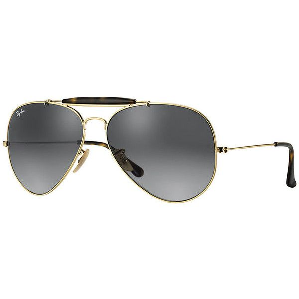 Ray-Ban Men's Outdoorsman Havana Collection Gold Sunglasses, Gray Lenses - Rb3029 found on Polyvore featuring polyvore, men's fashion, men's accessories, men's eyewear, men's sunglasses, gold, mens aviator sunglasses, mens eyewear, ray ban mens sunglasses and mens aviators