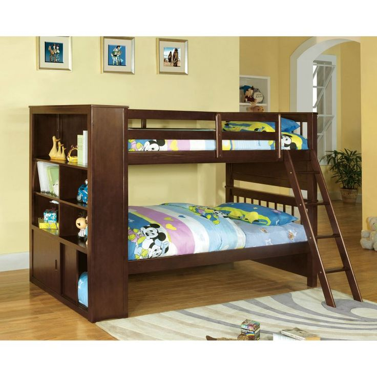 Furniture of America Walker Bookcase Twin over Twin Bunk Bed - IDF-BK147