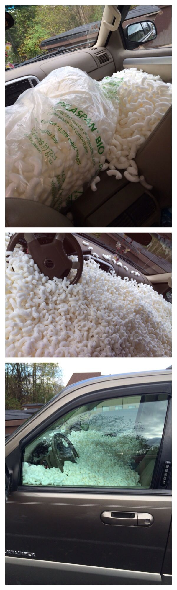 Packing peanuts car prank