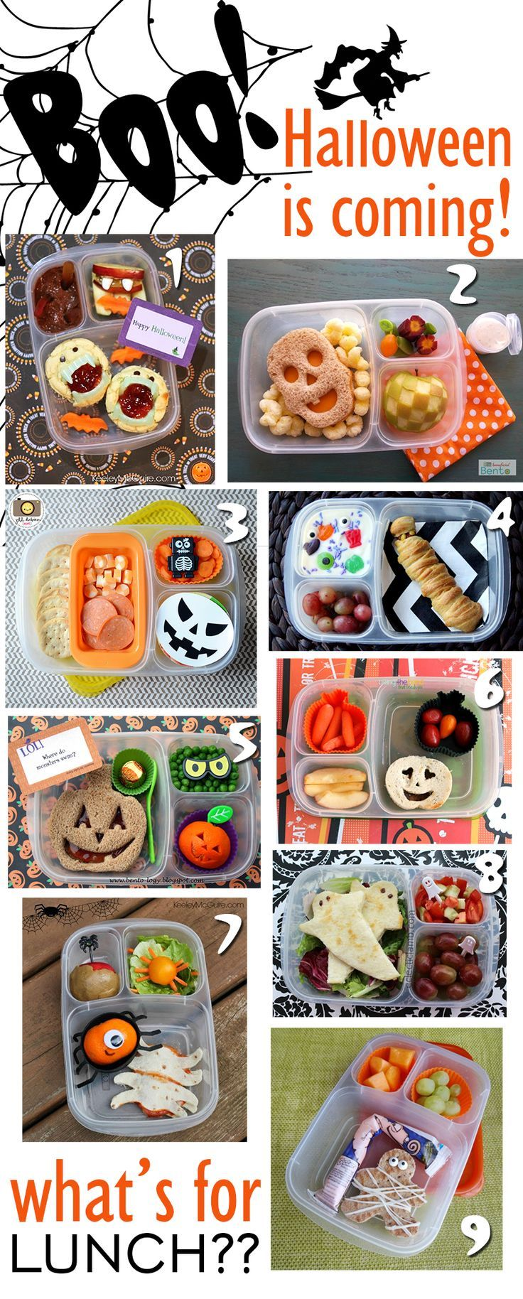 A frighteningly extensive collection of Halloween themed lunches -- cute ideas…