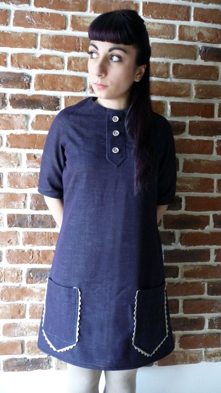Sixties purple trapeze dress (purple Main) di MisStufiSaraForlini su Etsy