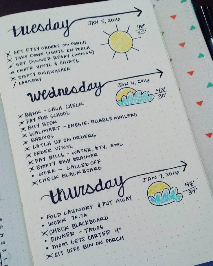 Definitely need to work on my cursive writing and my clouds but I'm loving this daily layout! #bujo #bulletjournalcommunity #bulletjournal #bulletjournaljunkies #dailylayouts