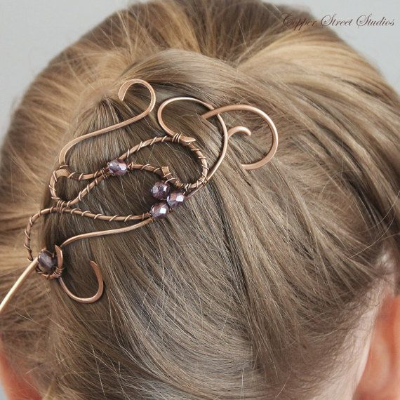 XL Feather Hair Accessory with Black Faceted Beads Clip Fastener UK Various Colours (Purple) 3GQYhNBVkN