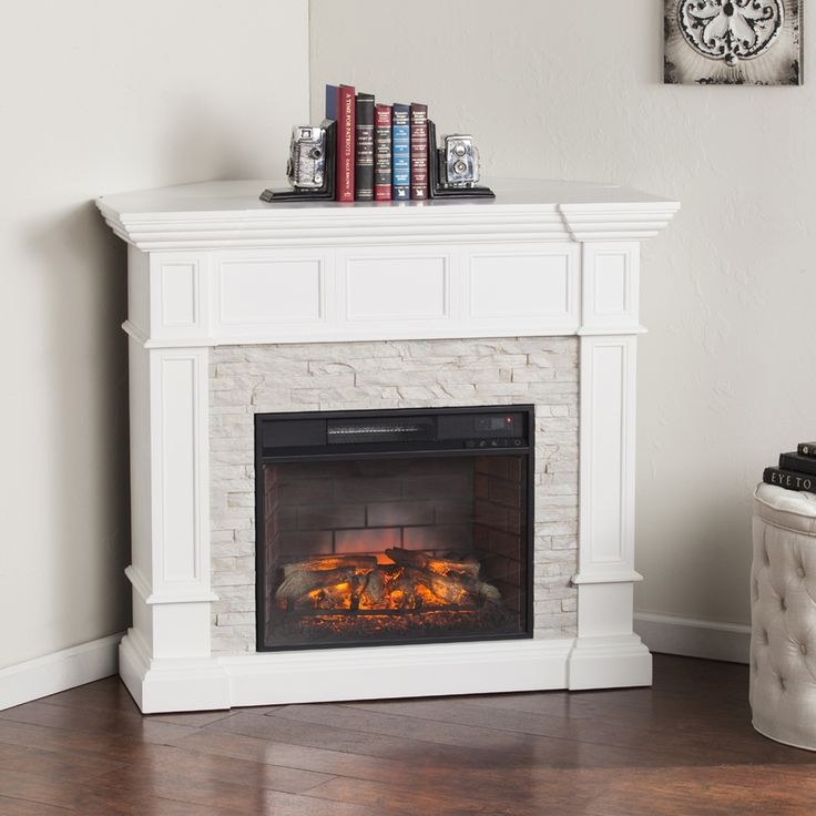 Boston Loft Furnishings 45.75-in W Fresh White/Rustic White Faux Stone Infrared Quartz Electric Fireplace with Thermostat and Remote Control