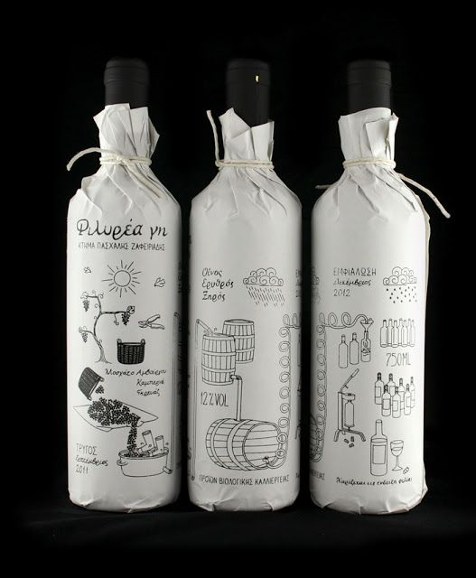 Some charming illustrated bottle wraps showing how the life of wine from growing the grapes to drinking the wine. bottlecollection:  Filirea gi, designed byZafeiriadis Christos,Greece.