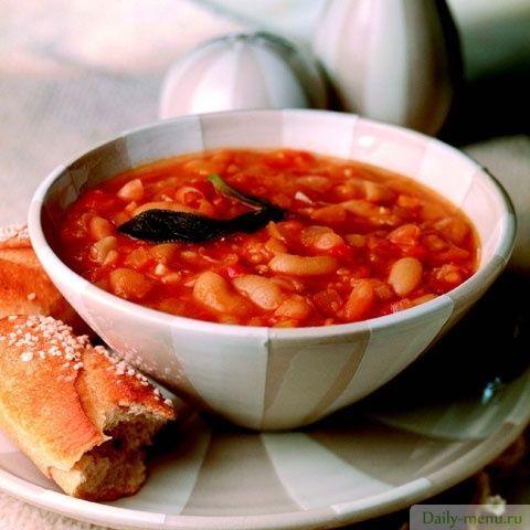 Фасолада – постный греческий суп с фасолью и овощами с указанием калорийности и пищевой ценности