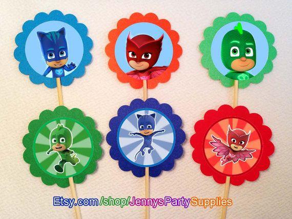 12 PJ Masks Toppers, PJ Masks Cupcake Toppers, PJ Masks Cupcake Picks, Cupcake Toppers, Toppers P.J Masks, P.J Masks party