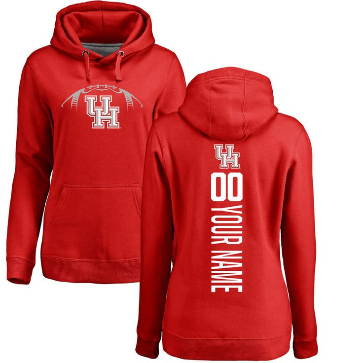 Houston Cougars Women's Football Personalized Backer Pullover Hoodie - Red