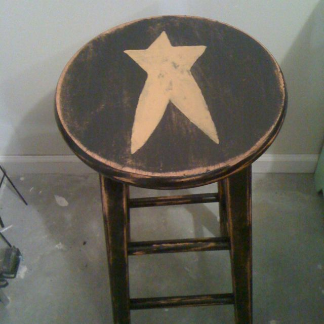 Primitive Star bar stool~after distressing.
