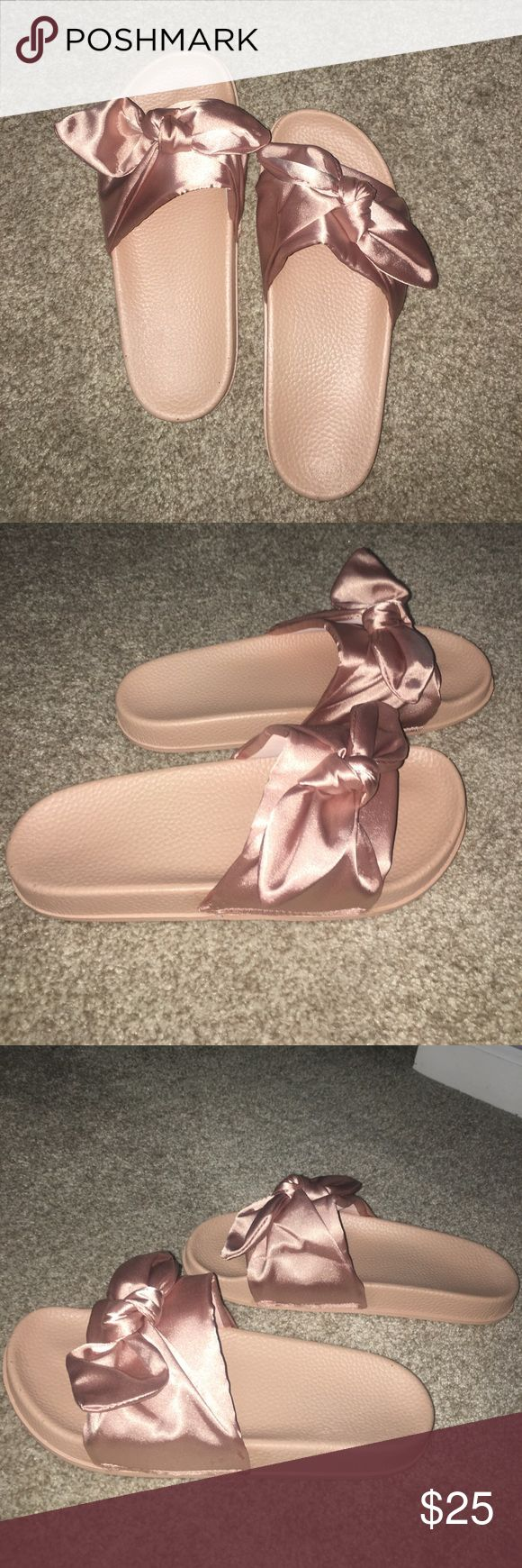 Pink Bow Tie Slides (imitation of Fenty slides) These are rose gold/ pink bow tie slides and are the fake version of the Rihanna fenty slides. They are really comfy, but although they claim to fit a size 9 they actually fit a size 8. There is no logo on them, but when feet are inside, you can't tell the difference from the real ones. The quality isn't bad for this price, I wish I could keep them but it just doesn't fit 😭 feel free to make me an offer also remember my bundle deal. Comment…