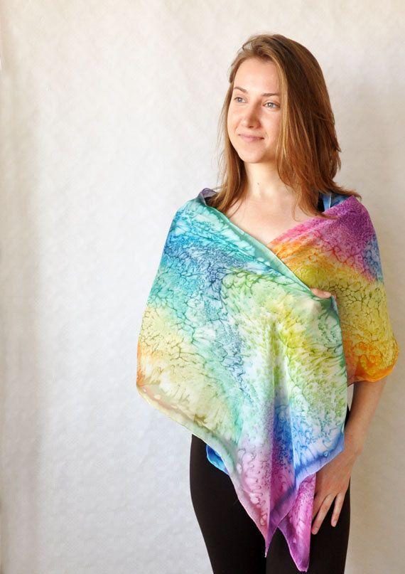 Handmade Scarf. Hand Painted Long Silk Scarf by KatarzynaKaMaART, $47.00