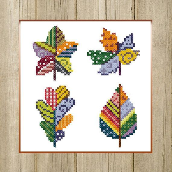 PDF. Colorful Autumn Leaves. Cross Stitch by SecretFriends on Etsy