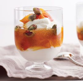 Greek Yogurt Parfaits with Slow-Cooked Apricot Preserves and Toasted Pistachios