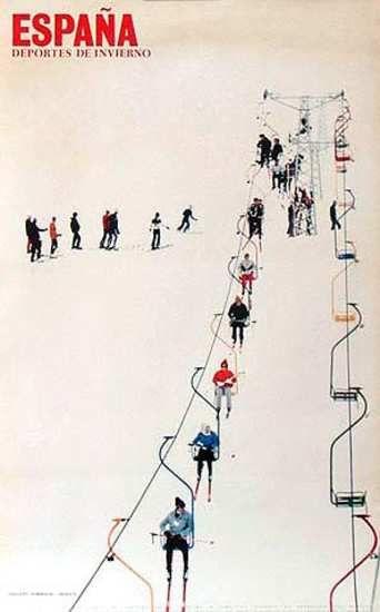 Vintage ski poster, Spain, 1970's  #RogersWinterWhites