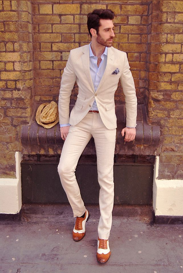 Men's elegant summer outfit: cream suit, white casual shirt with  brown-white shoes