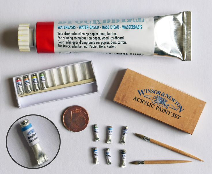 Acrylic paint set:  As an addition to the easel... Tubes: cut of 10 times 10mm from a Ø2mm Alu tube; flatten one end with pliers, put micro screw in other end; then add label. Box is from printed template and brushes are ±half tooth picks. Glue woolen thread on cut off side; then add small slip of metal tape around contact area of wood and thread. Style brush hairs with glue and scissors. (Contact me for template of box and more instructions).