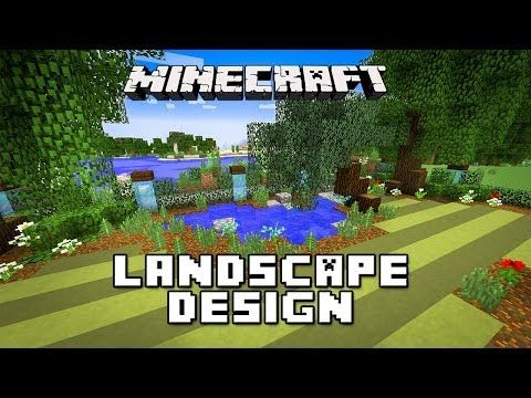 Minecraft Tutorial: Landscaping Design For Pond, Trees And Lawn (Modern House Build Ep. 24)