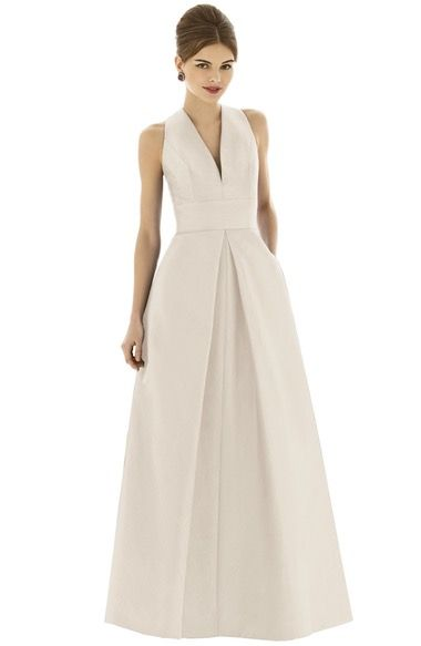 NAVY Alfred Sung Dupioni A-Line Gown available at #Nordstrom