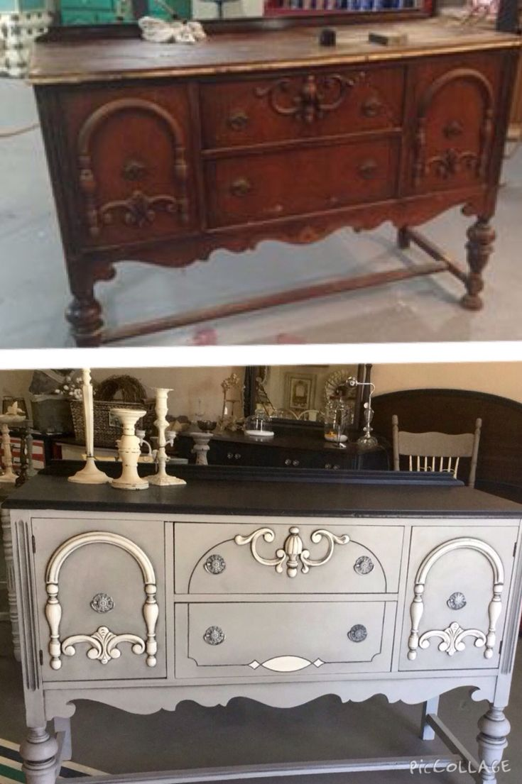 Antique buffet in Paris Gray, Graphite & White. Furniture  RefinishingFurniture ... - 420 Best Beautiful Buffets Images On Pinterest Furniture Makeover