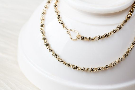 Handmade nu gold brass chain for pendant, wire wrapped links antiqued solid brass chain necklace, unisex handcrafted oxidized brass chain