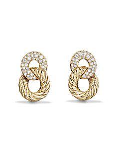 david yurman belmont extrasmall curb link drop earrings with diamonds in 18k gold