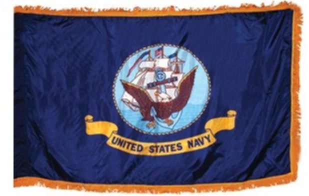 Indoor Navy Flag 3' x 5' with Gold Fringe