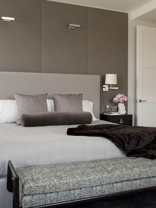 fabulous taupe silver and damson shades for a contemporary bedroom