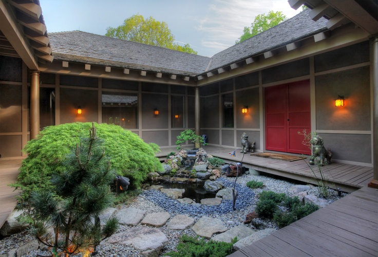 A Japanese Garden Courtyard Welcomes Visitors At The Front Of The House,  Where A Large Parking Courtyard Separates Hard And Soft Scapes... | Aspireu2026 Part 38