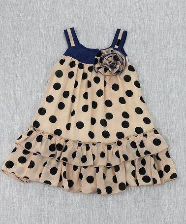 Beige & Black Polka Dot Drop-Waist Dress - Toddler & Girls #zulily #zulilyfinds