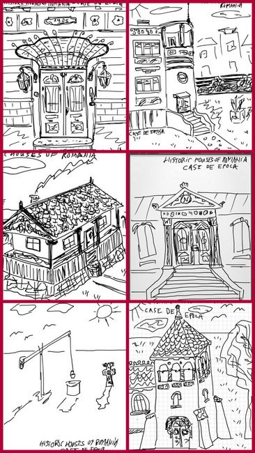 Sketches of representative Romanian historic built landscape sights by Valentin Mandache