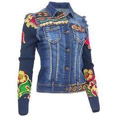 Desigual Damen Jeansjacke Jeans Jacke Used Waschung Strick Ärmel Floral Print
