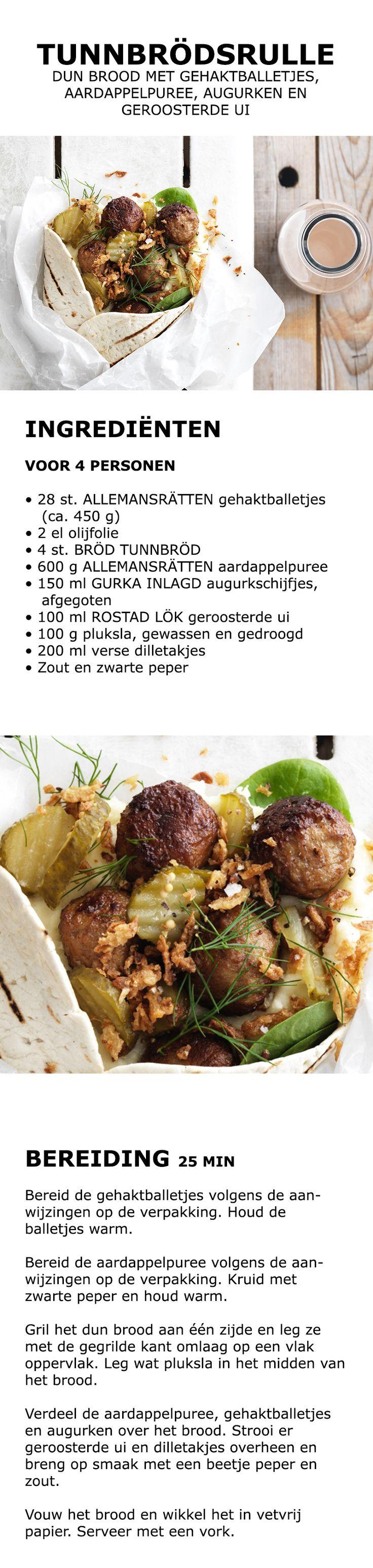 Inspiratie voor de feestdagen - Tunnbrödsrulle, dun brood met gehaktballetjes, aardappelpuree, augurken en geroosterde ui | IKEA IKEAnederland koken keuken recept herfst winter kerst diner lunch zweeds gerecht menu