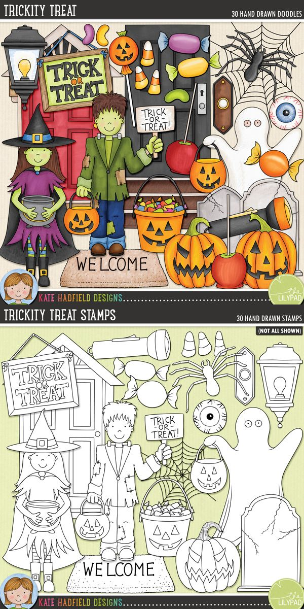 Halloween trick-or-treat digital scrapbooking elements | Cute Halloween characters clip art | Hand-drawn doodles for digital scrapbooking, crafting and teaching resources from Kate Hadfield Designs!