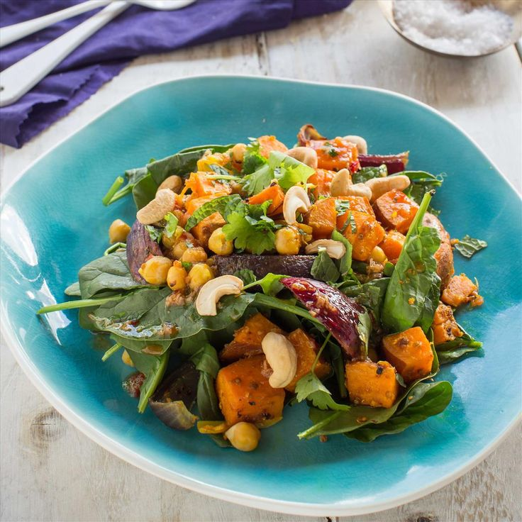 Caramelised Kumara and Chickpea Spinach Salad with Kaffir Lime and Cashews