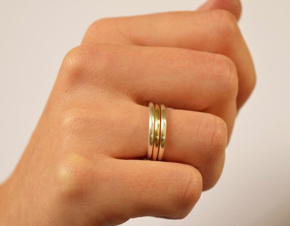 Mixed Metals Polished Gold & Silver Stacking Rings