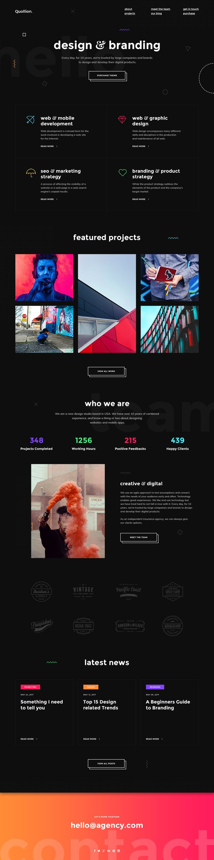 Quollion - Creative & Modern Portfolio PSD Template #psd #studio • Download ➝ https://themeforest.net/item/quollion-creative-modern-portfolio-psd-template/21003345?ref=pxcr