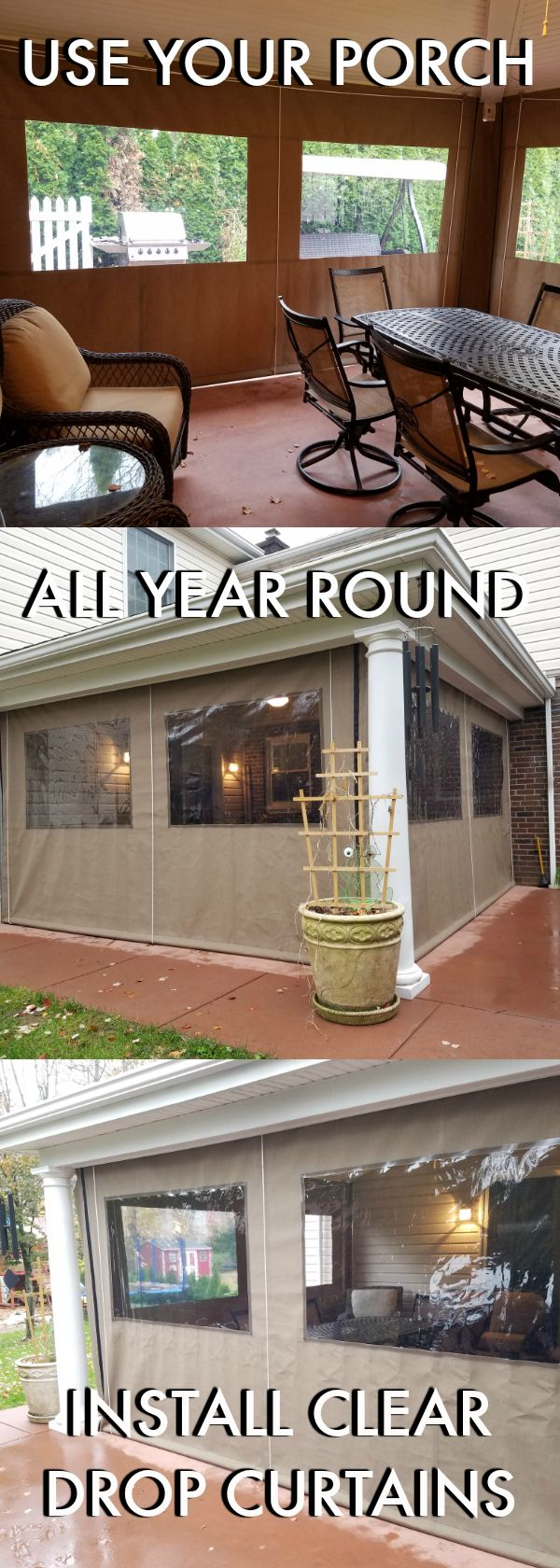 Porch enclosure curtains. DIY – WE CAN SHIP the curtains to you with all needed hardware for an easy self-install!