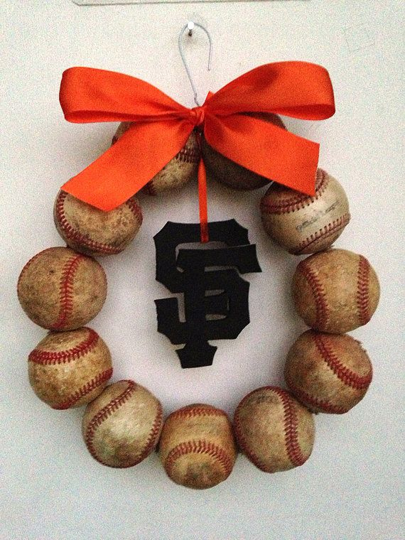 I ONLY PINNED THIS SO MY SISTER WOULD SEE IT:) San Francisco Giants Baseball Wreath by NTgoodthings on Etsy, $46.00