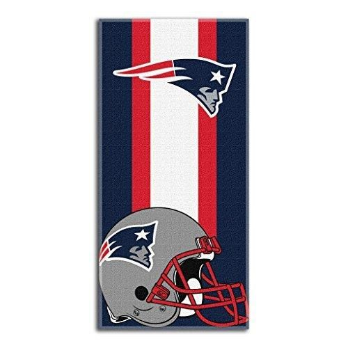 NFL Patriots Zone Read Beach Towel 30 X 60 Football Themed Towel Sports Patterned Team Logo Fan Merchandise Athletic Team Spirit Natuical Blue White Red Silver Cotton Polyester